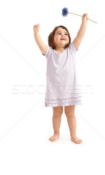Heureux petite fille printemps fleur souriant enfants Photo stock © nyul