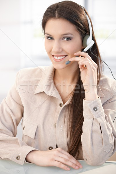 Portrait of pretty dispatcher smiling Stock photo © nyul