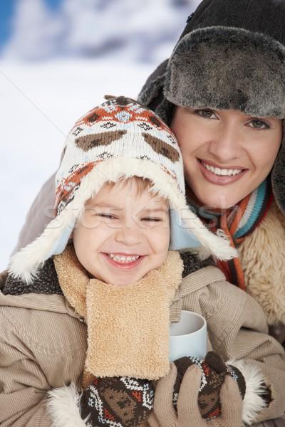 Moeder kind winter portret gelukkig Stockfoto © nyul