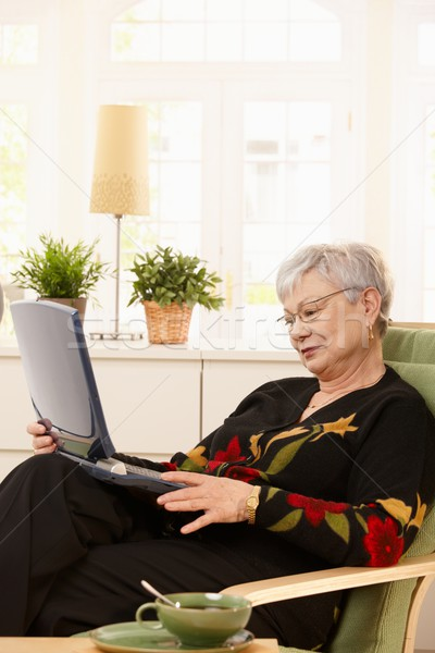 современных пенсионер ноутбука женщину сидят домой Сток-фото © nyul