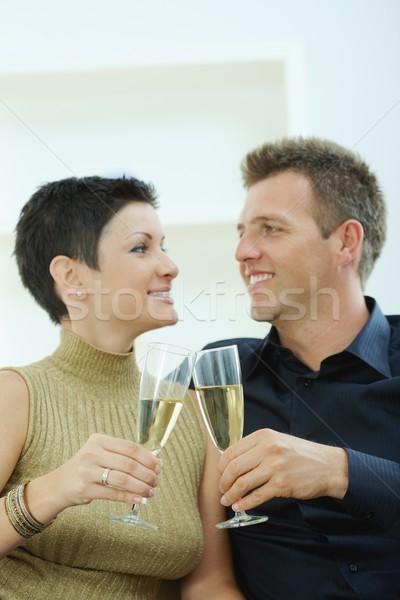 Paar champagne liefde bril home sofa Stockfoto © nyul
