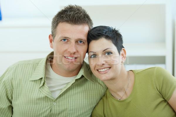 Stock fotó: Szeretet · pár · ölelkezés · boldog · fiatal · otthon