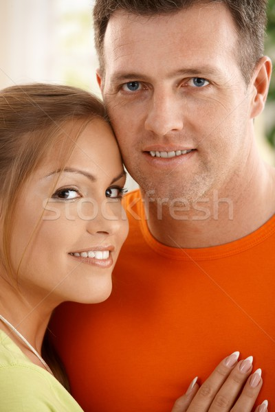 Stock fotó: Boldog · pár · portré · mosolyog · együtt · kamera