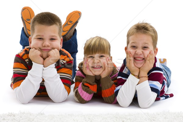 Kids lying on floor Stock photo © nyul