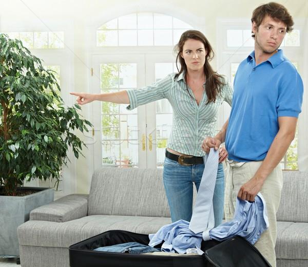 Casal infeliz zangado mulher indicação fora Foto stock © nyul