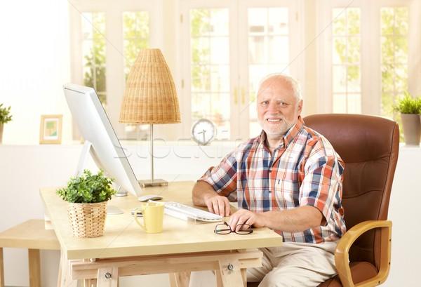 Foto stock: Senior · homem · sessão · secretária · casa · computador