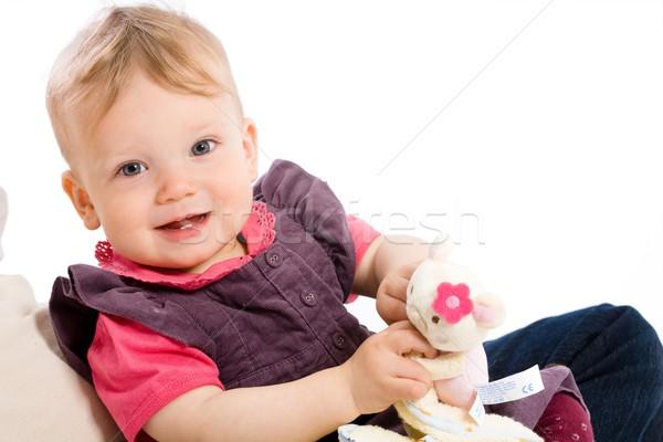 Jugando juguetes propiedad feliz meses Foto stock © nyul