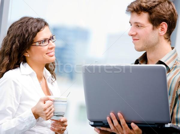 ストックフォト: ビジネスマン · 女性実業家 · 幸せ · コンピュータ · オフィス