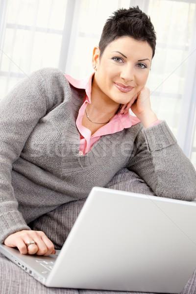 Woman teleworking at home Stock photo © nyul