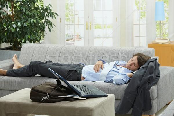 Stockfoto: Moe · zakenman · slapen · bank · home · lang