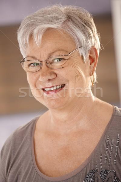 Photo stock: Portrait · supérieurs · femme · verres