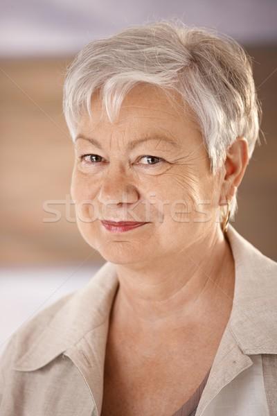 Retrato cabelos brancos olhando câmera Foto stock © nyul