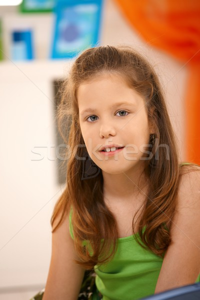 Elementary age schoolgirl smiling Stock photo © nyul