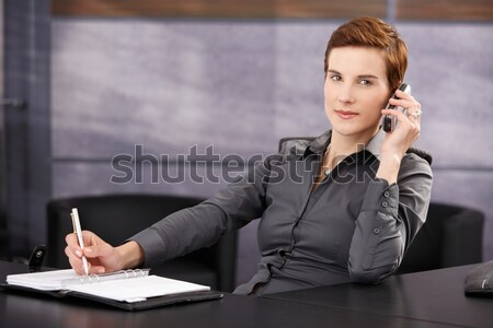 Fiatal üzletasszony iszik kávé vonzó bemutató Stock fotó © nyul
