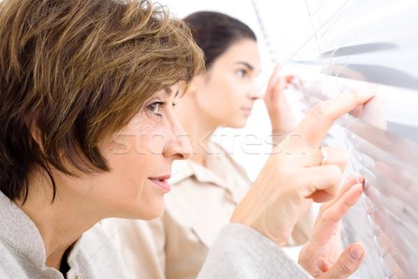Curiosidad curioso empresarias mirando oficina Windows Foto stock © nyul