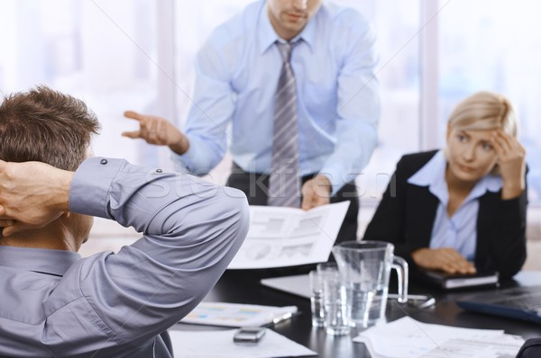 Сток-фото: бизнес-команды · рабочих · заседание · деловая · женщина · глядя