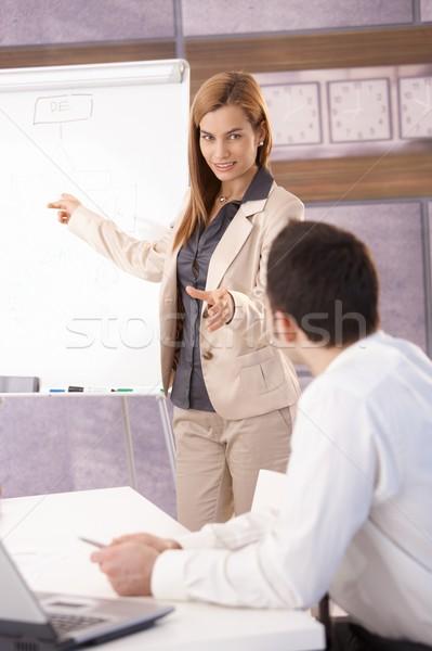 Cheerful businesswoman presenting over board Stock photo © nyul