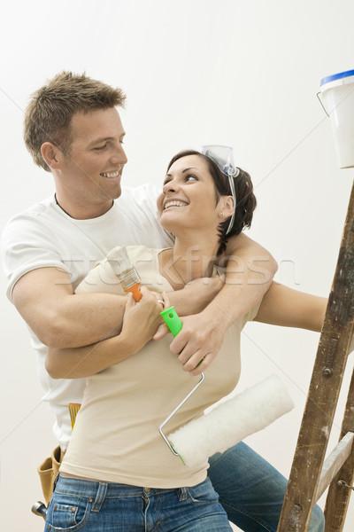 Stock fotó: Boldog · pár · lakásfelújítás · tart · festmény · szerszámok