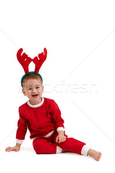 Peu garçon rennes cheveux portrait heureux Photo stock © nyul