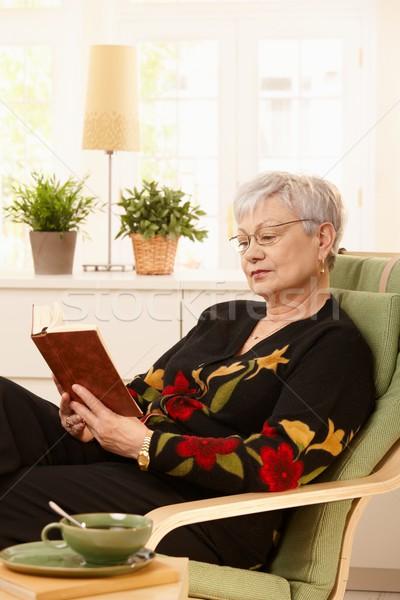 Vrouwelijke gepensioneerde lezing home bril Stockfoto © nyul