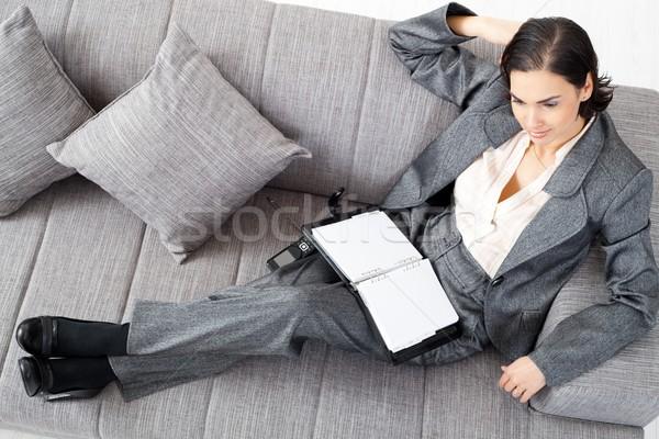 Stock photo: Businesswoman on sofa