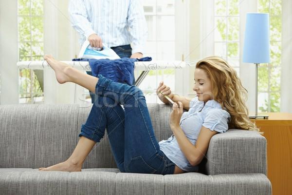 Woman filing nails Stock photo © nyul
