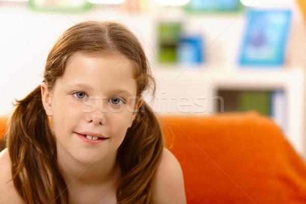 Szép kicsi lány lófarok közelkép portré Stock fotó © nyul