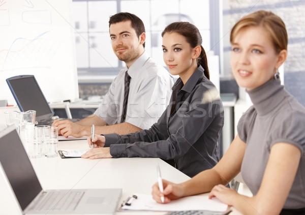 ストックフォト: 小さな · リスニング · プレゼンテーション · 座って · 会議