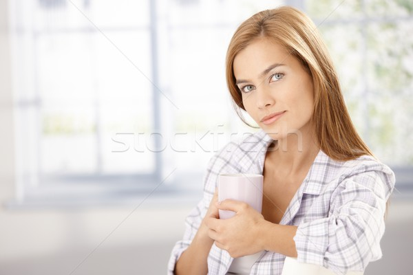 Morning portrait of attractive girl in pyjama Stock photo © nyul