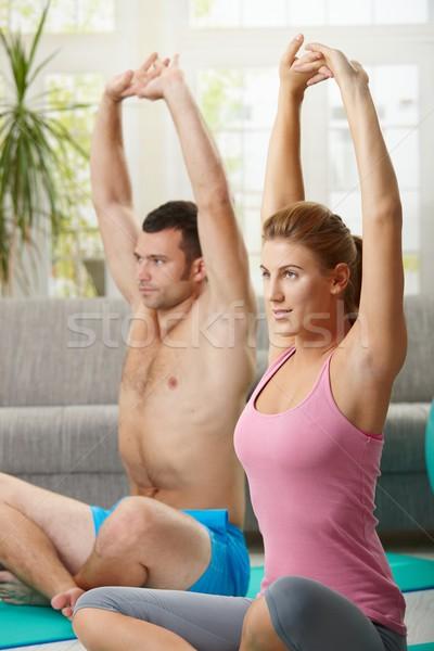 Maison séance fitness matelas homme Photo stock © nyul