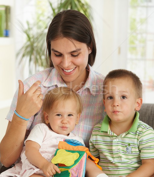 Happy mother with two children Stock photo © nyul