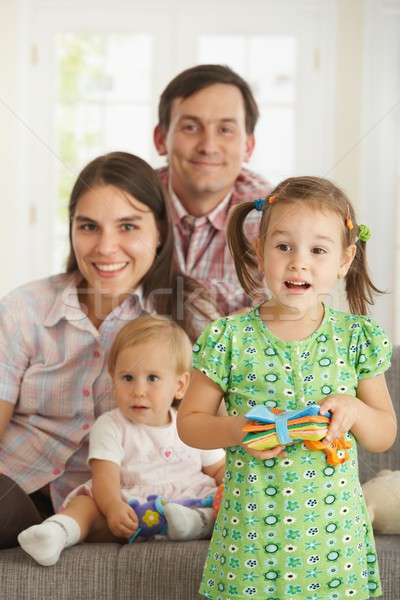 Photo stock: Fille · portrait · de · famille · peu · permanent · maison