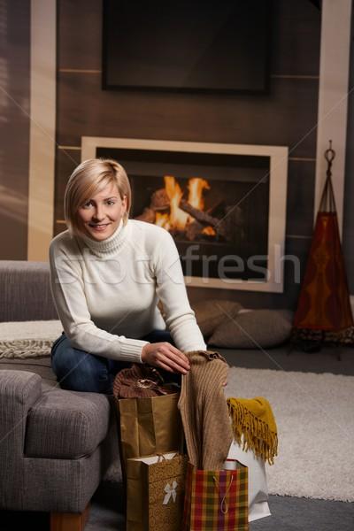 Stockfoto: Vrouw · home · gelukkig · jonge · vrouw · sofa