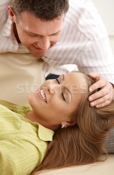 человека волос улыбаясь счастливым диван Сток-фото © nyul