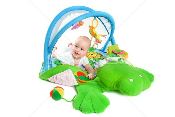 Stockfoto: Baby · gymnasium · geïsoleerd · gelukkig · spelen · speelgoed