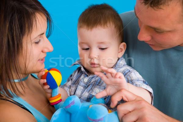 Portré lezser családi portré boldog család baba Stock fotó © nyul