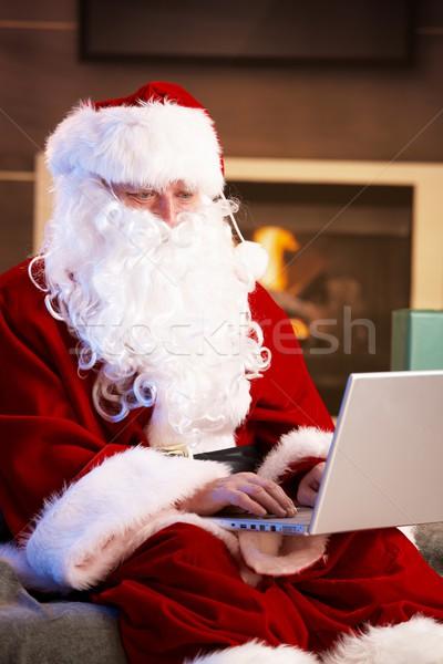 Stockfoto: Moderne · kerstman · vergadering · haard