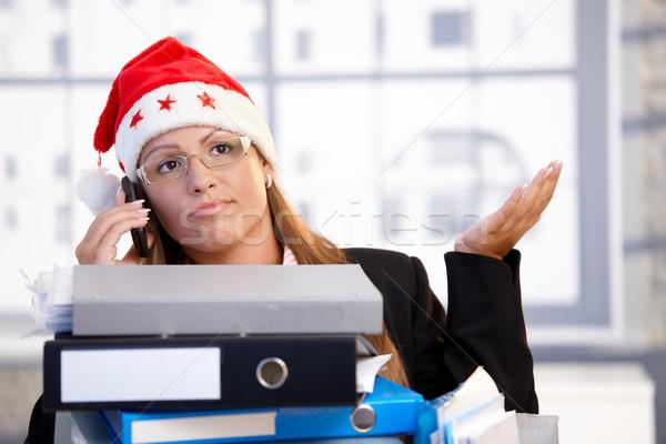 Fiatal női mikulás kalap problémás iroda Stock fotó © nyul