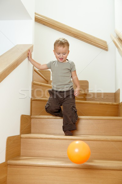 Little boy playing on stairs Stock photo © nyul