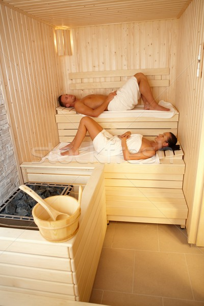 Adam kadın sauna rahatlatıcı sağlıklı yaşam yüz Stok fotoğraf © nyul