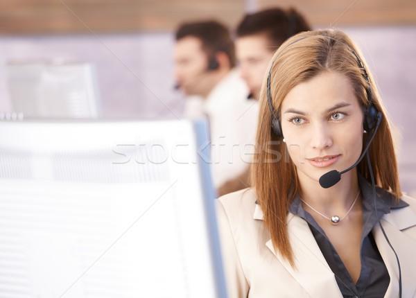Сток-фото: портрет · красивой · женщины · рабочих · Call · Center · женщину