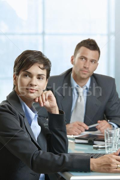 Stockfoto: Zakelijke · bijeenkomst · zakenman · zakenvrouw · vergadering · bureau