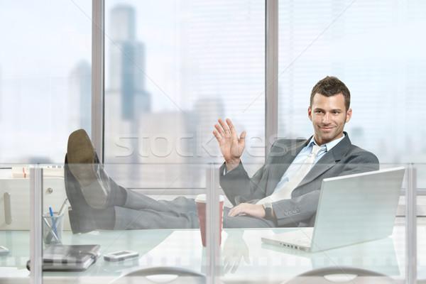 Nyugodt üzletember ül asztal iroda ablakok Stock fotó © nyul
