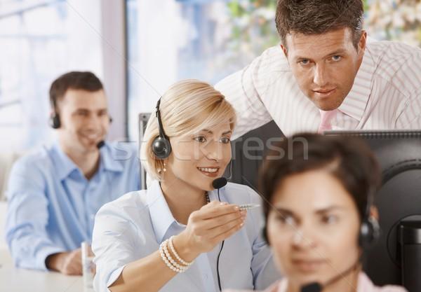 Foto stock: Atendimento · ao · cliente · gerente · negócio · escritório · homem · quarto