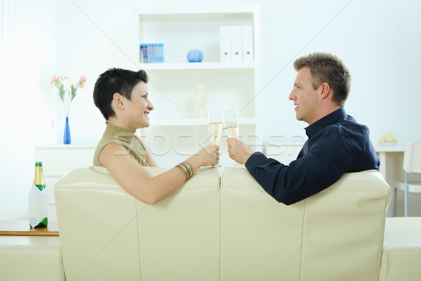 ストックフォト: カップル · 飲料 · シャンパン · 愛 · 眼鏡 · ホーム