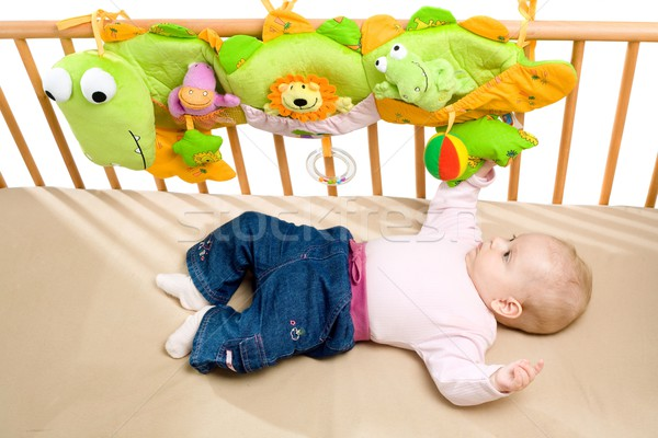 Baby bed Maakt een reservekopie kinderen gezicht kind Stockfoto © nyul