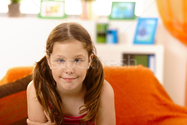 Happy elementary age girl Stock photo © nyul