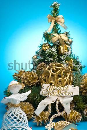 Christmas decoratie Blauw groene winter vakantie Stockfoto © nyul