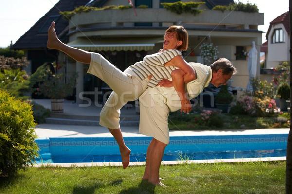 Idős pár edzés boldog testmozgás otthon szabadtér Stock fotó © nyul