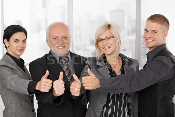Stock foto: Erfolgreich · lächelnd · unterschiedlich · Generationen · Daumen